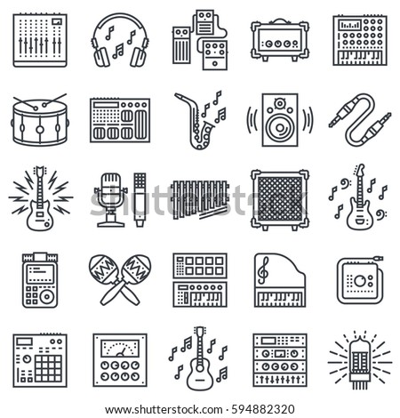 Musical Instruments and Sound Recording Outline Icon Set.