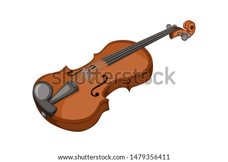 Musical instruments. Beautiful Wooden  Violin in Cartoon Style Isolated on White Background Сток-фото ©