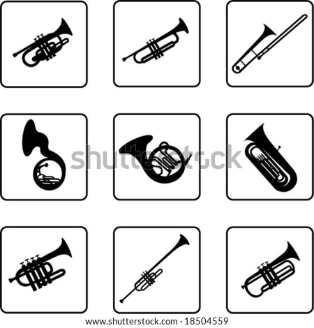 musical instruments black and white silhouettes (also available in raster format)