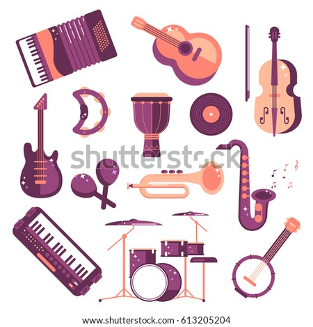 musical instruments cartoon vector set. synthesizer, drum, jumbo, violin, saxophone, accordion, tambourine, maracas, trumpet, drive, bass guitar