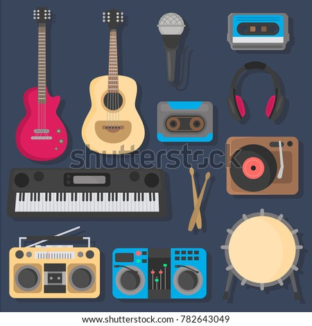 Musical instruments color flat