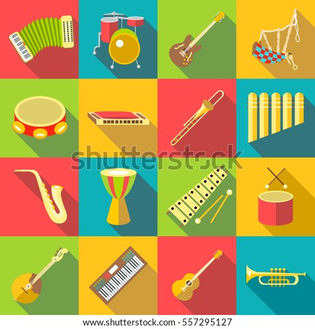 Musical instruments color icons set. Flat illustration of 16 musical instruments color vector icons for web