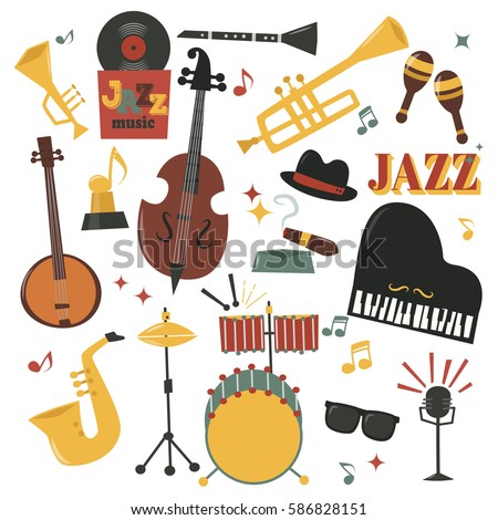 Musical instruments decorative icons with guitar drums headphones and jazz rock concert note silhouette audio piano saxophone sound vector illustration.