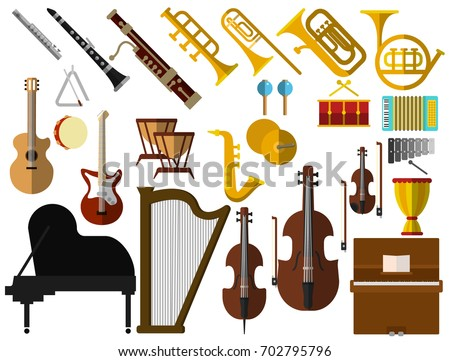 Musical instruments elements collection, flat icons set, Colorful symbols pack contains - Guitar trombone flute violin piano saxophone accordion drum. Vector illustration. Flat style design