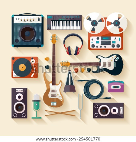 musical instruments flat