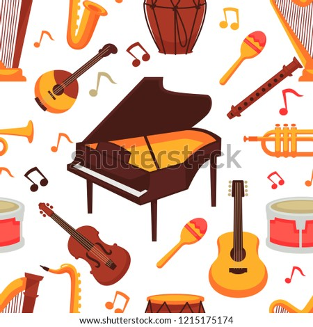 Musical instruments flat icons seamless pattern. Vector isolated set of orchestra harp and rock or banjo guitar, piano music notes and drums or percussion, maracas and flute with saxophone or trumpet