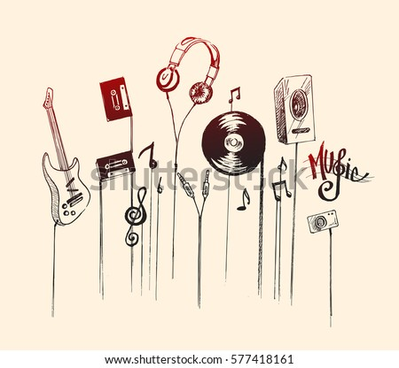 musical instruments  hand drawn