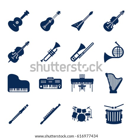 Musical instruments icon set. Vector.