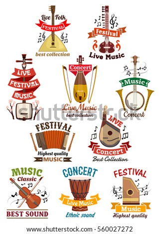 Musical instruments icons. Balalaika, oriental koto or biwa, banjo, lute, harmonica, flute and violin, music note clef, ethnic drum, bandura, lute and zither. Vector isolated badges and icons