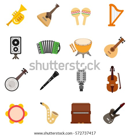 musical instruments icons set. isolated symbols collection