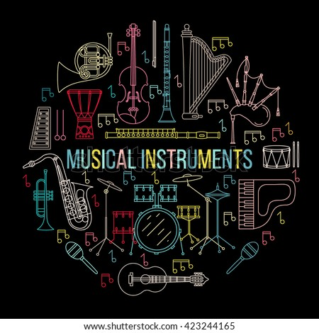 Musical instruments isolated on black background. Vector illustration. Saxophone, cello, french horn, guitar, piano, bagpipes and others. Design concept for poster, banner, emblem. Modern line style.