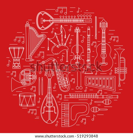 Musical instruments isolated on black background. Vector illustration. Saxophone, cello, french horn, guitar, piano, bagpipes and others. Design concept for poster, banner, emblem. Modern style.