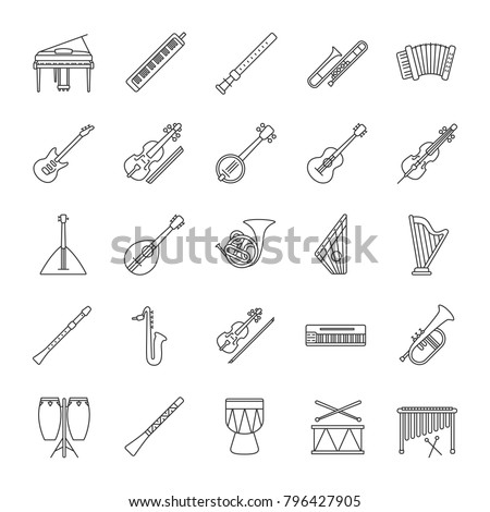 Musical instruments linear icons set. Orchestra equipment. Stringed, wind, percussion instruments. Thin line contour symbols. Isolated vector outline illustrations. Editable stroke