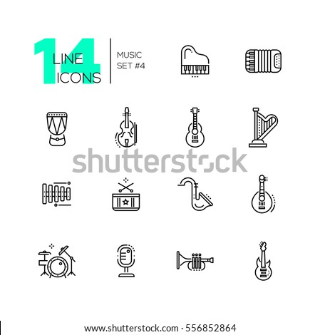 Musical Instruments - modern vector line design icons set. Piano, accordeon, kettledrum, violin, guitar, harp, metallophone, saxophone banjo drum kit microphone trumpet