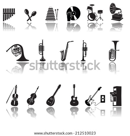 Musical instruments.Music icon collection - vector silhouette illustration.