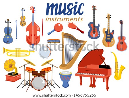 Musical instruments. Music instrument vector icons, entertainment instrumentation collection isolated on white background