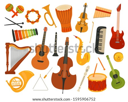 Musical instruments. Music sound instrument, harp and flute, synthesizer and drum. Graphics instrumental toys. Vector melody festival set