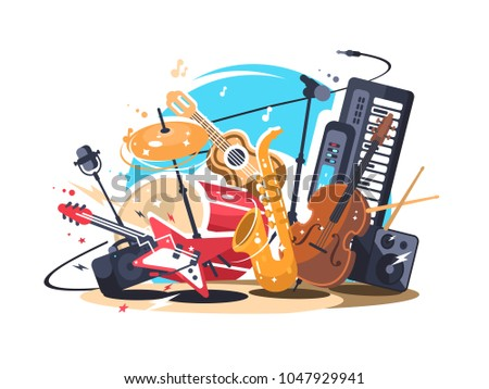 Flat Music Instrument Vectors - Download Free Vector Art