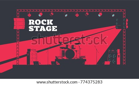 Musical Instruments on Stage. Rock Band Full Setup. Guitar and Bass Amplifier Stacks Flat Vector Illustration. High Contrast Lighting.