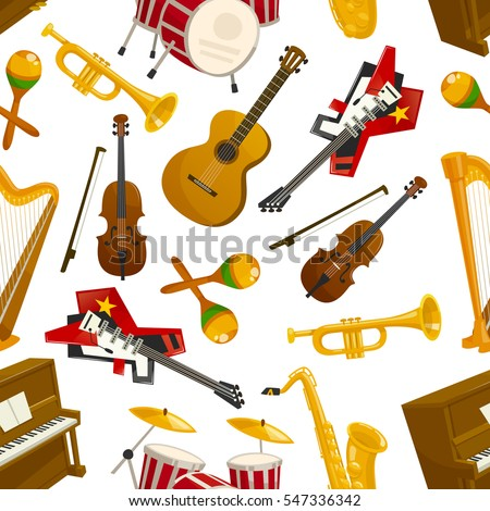 Musical instruments pattern of acoustic guitar and violin with bow, orchestra harp and piano, maracas, saxophone and cymbals on drums, jazz trumpet. Vector seamless music background