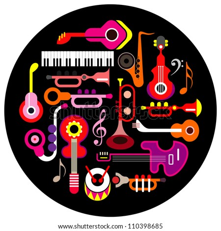 Musical instruments - round vector illustration on black background. Isolated icon set.