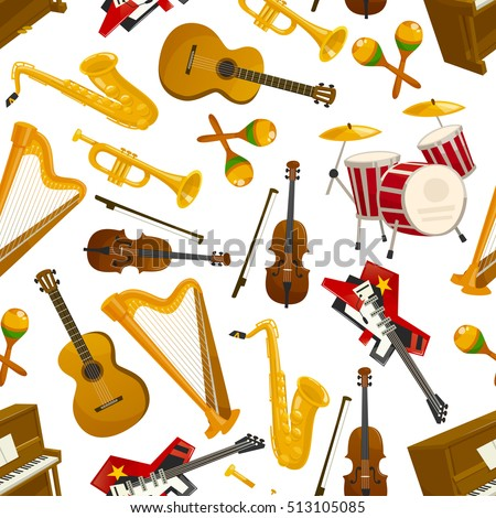 musical instruments seamless...