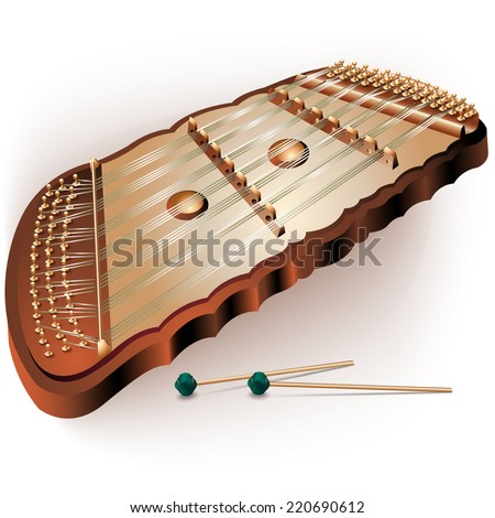 Musical Instruments Series. Traditional Dulcimer, Isolated ...