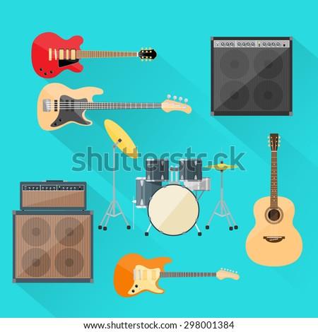 musical instruments set guitar