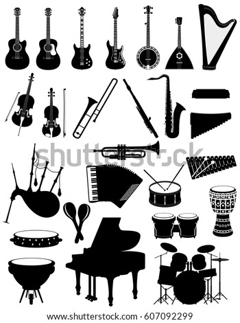 musical instruments set icons