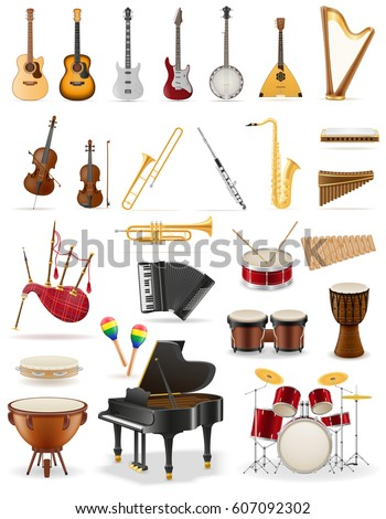 musical instruments set icons stock vector illustration isolated on white background