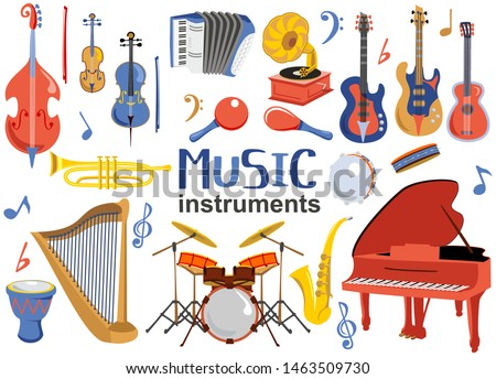 Musical instruments set. Music instrument vector icons, entertainment instrumentation collection isolated on white background