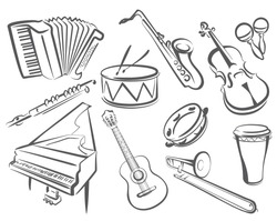musical instruments set of icons in simple lines