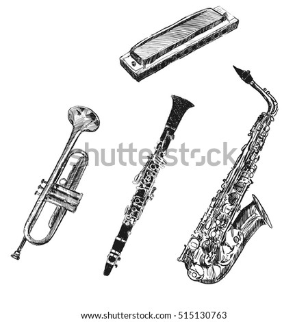 musical instruments. sketch...