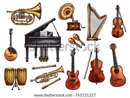 musical instruments sketch...