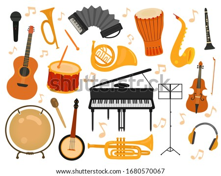 Musical instruments. Sound toys, music instrument for rhythm study. Flat isolated drum and flute, acoustic guitar and accordion vector set