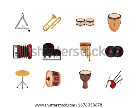 musical instruments string wind percussion icon set vector illustration isolated icon