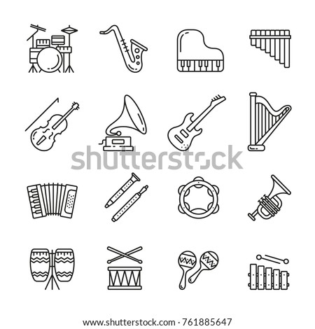 Musical instruments: thin monochrome icon set, black and white kit