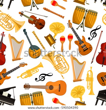 Musical instruments vector seamless pattern of orchestra harp, contrabass and piano, maracas, saxophone and gramophone, cymbals on ethnic jembe drums, jazz trumpet, acoustic guitar and violin
