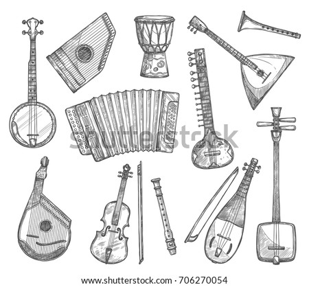 Musical instruments vector sketch icons. Vector isolated banjo guitar, ethnic jembe leather drum, balalaika zither and bouzuki, fiddle violin or flute and traditional folk music biwa koto or accordion