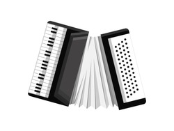 Musical Keyboard instrument. Isolated image of a accordion. Vector illustration - musician equipment. Tool for music lover