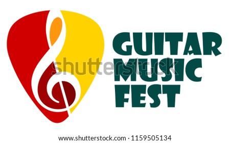 Musical logo. Silhouette of a guitar plectrum and a treble clef. Bright juicy colors. The concept of classical, blues and rock music.