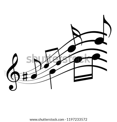 Musical melody vector icon illustration isolated on white background
