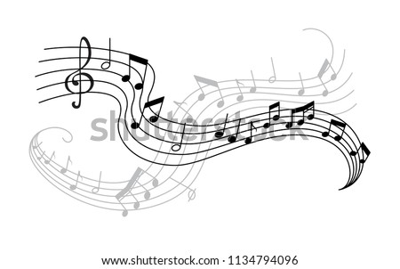 Musical note and treble clef on swirling stave icon. Musical notation symbol of classic music composition or song melody with shadow for music themes design