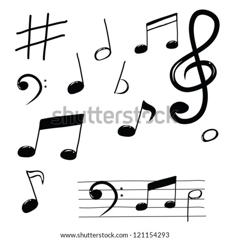 musical note doodle set