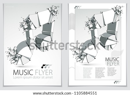 Musical note exploding to pieces, vector 3d realistic illustration symbol. Hard loud sound concept, flyer or brochure design, rock or electronic genres, musical energy and vibrations, festival idea.