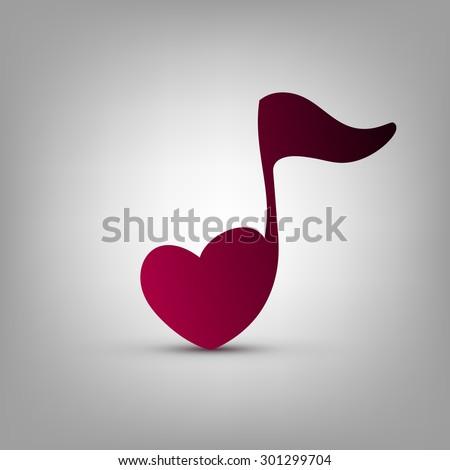 musical note heart shape vector