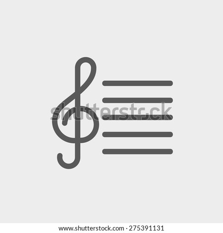 musical note icon thin line for