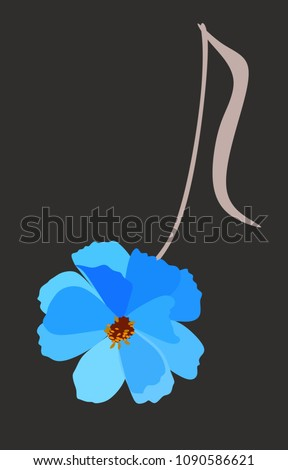 Stock Photo Musical note in shape of blue cosmos flower isolated on black background in vector. Logo, vertical greeting or invitation card, banner, wrapping design.