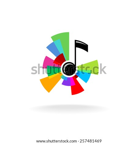 musical note logo with colorful