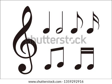 Musical note music symbol, Vector illustration
